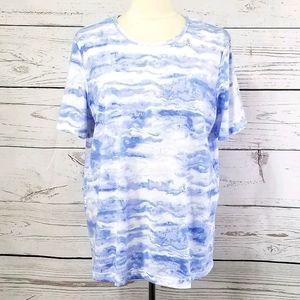 Blair Short Sleeve Blue & White Marbled Tee Shirt